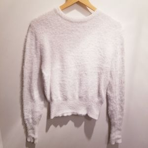 Zara | Knit Silky Soft White Textured Sweater sz L